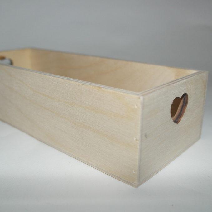 Scatola in legno cuore cm 9, 5 x 24, 5 x 6