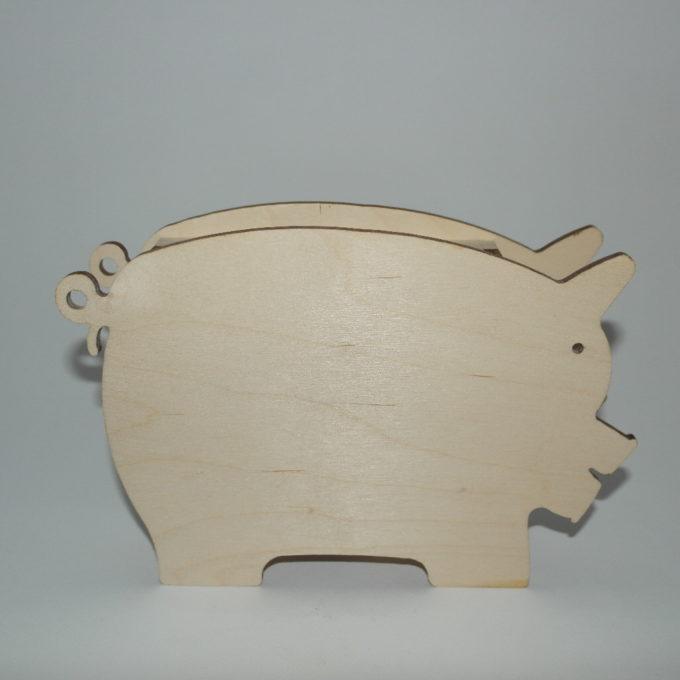 Salvadanaio in legno di faggio sagoma maialino