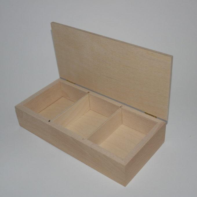 Scatola portacarte a 3 reparti in legno incisa a laser cm 11 x 23 x 4