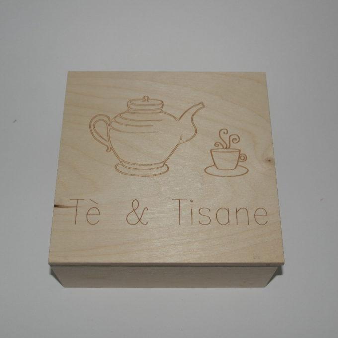 Scatola in legno incisa a laser cm 19x19x7