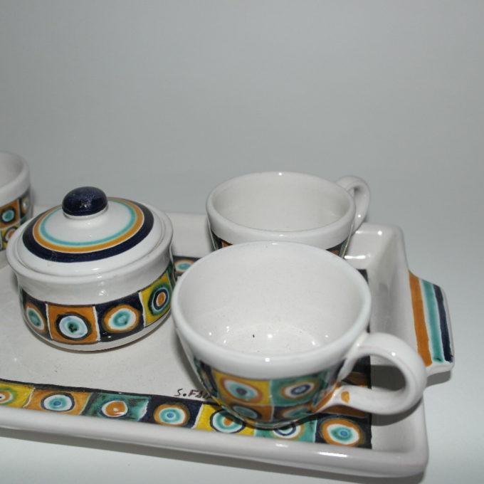 Servizio in ceramica di castelli dipinto a mano 6 pezzi