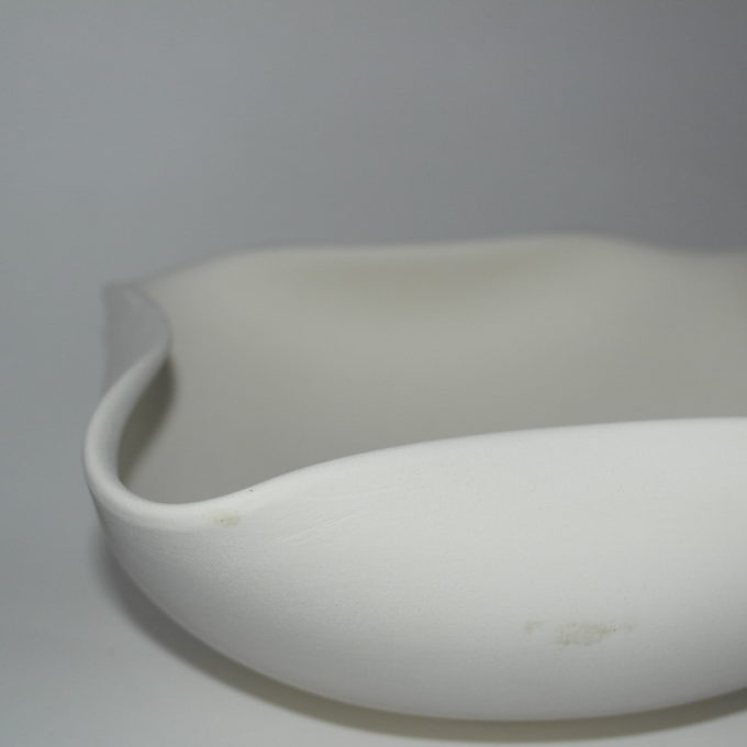 Ciotola 4 angoli in terracotta bianca cm 28