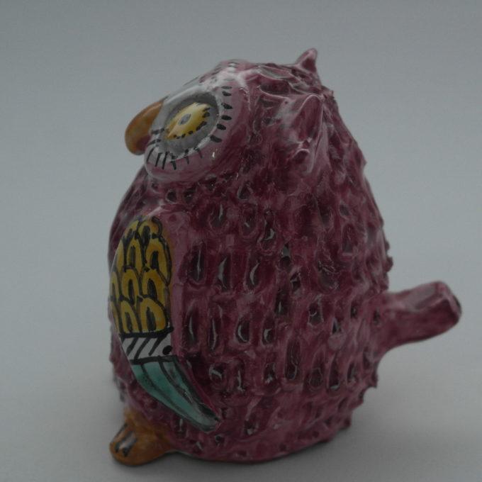 Gufo in ceramica di Castelli realizzato a mano