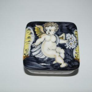 Scatola in ceramica di castelli dipinta a mano angelo