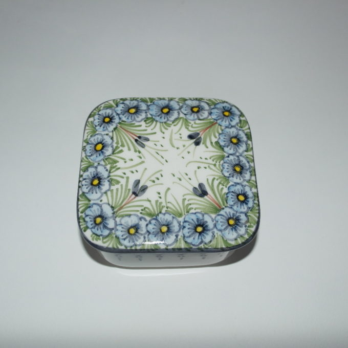 Scatola in ceramica di castelli dipinta a mano fiori