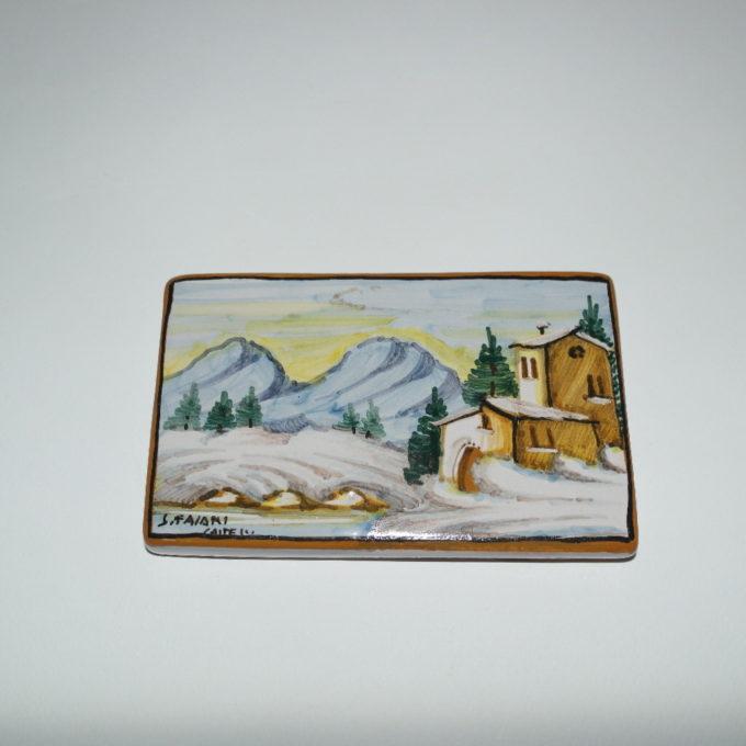 Mattone 8 x 14 in ceramica di Castelli dipinto a mano