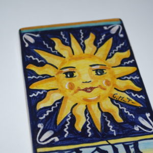 Mattone 8x14 in ceramica di Castelli dipinto a mano
