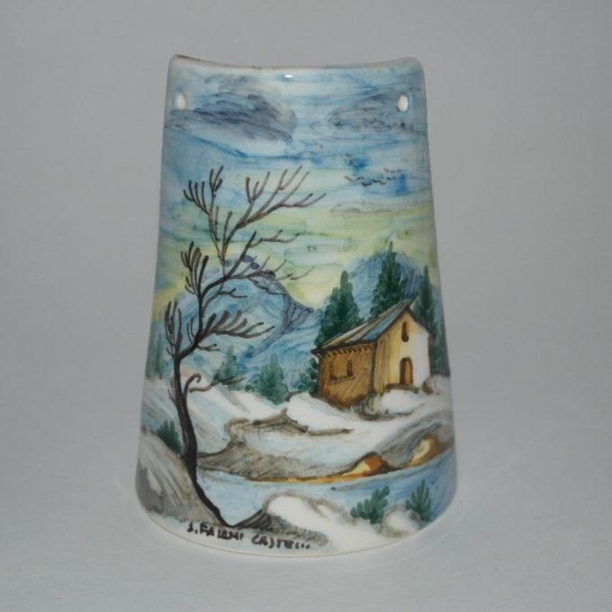 tegola in ceramica di castelli dipinta a mano