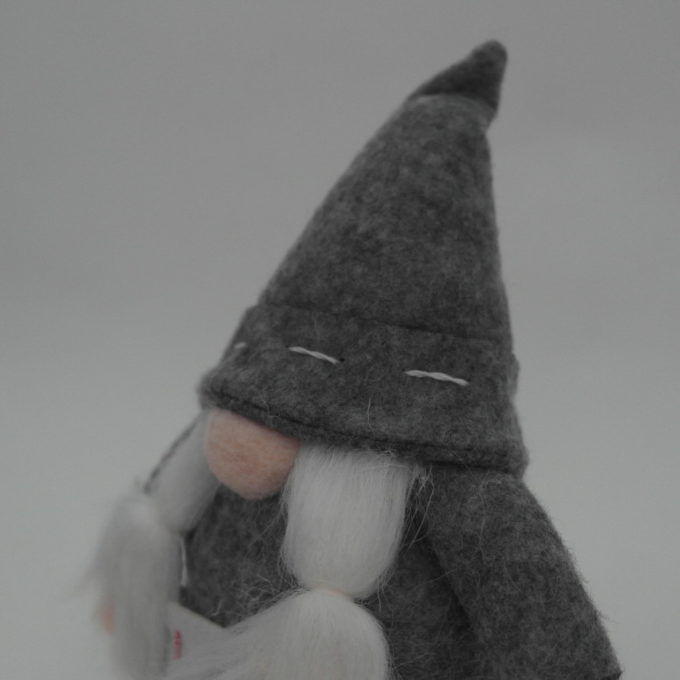 gnomo da arredamento con trecce grigio cm 15
