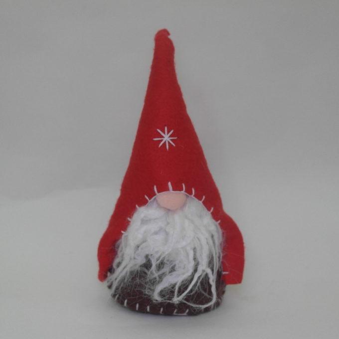 Gnomo maschio in stoffa rosso cm 20 con cappello
