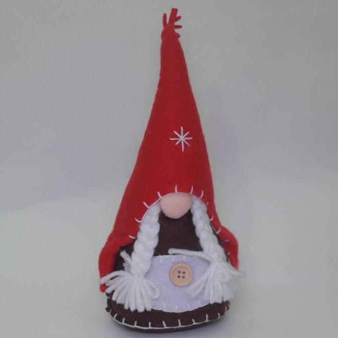Gnomo femmina in stoffa rosso cm 20 con cappello