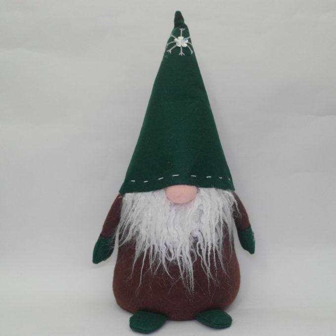 Gnomo fermaporta in stoffa verde cm 45 con cappello