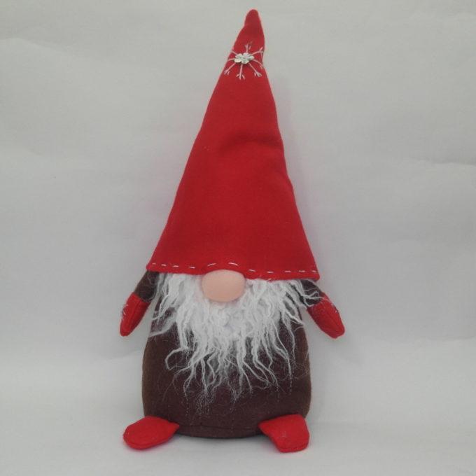 Gnomo fermaporta in stoffa rosso cm 45 con cappello