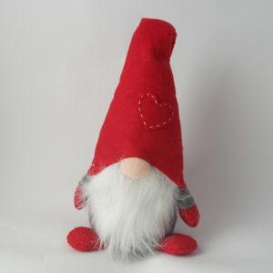 Gnomo fermaporta con cappello rosso e barba cm 45