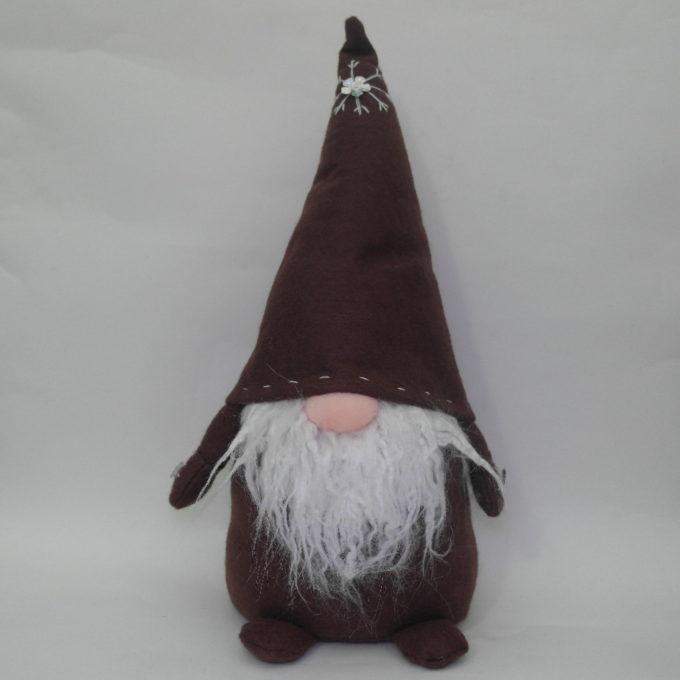 Gnomo fermaporta in stoffa marrone cm 45 con cappello