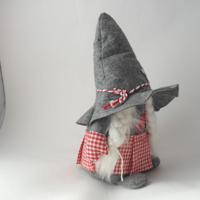gnomo fermaporta in stoffa con cappello femmina
