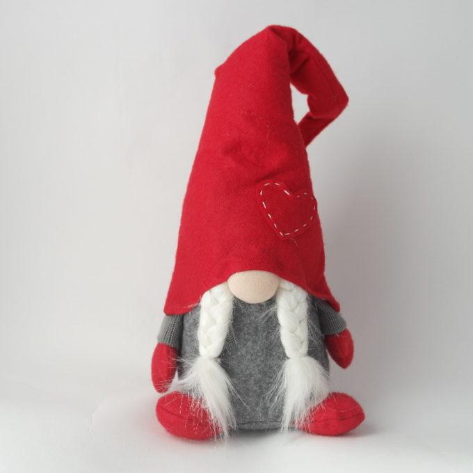 Gnomo fermaporta femmina con cappello rosso e trecce cm 45