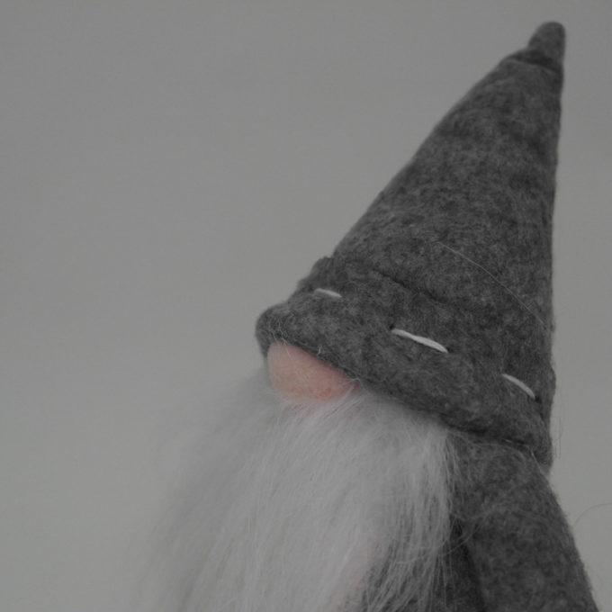 gnomo da arredamento con barba grigio cm 15