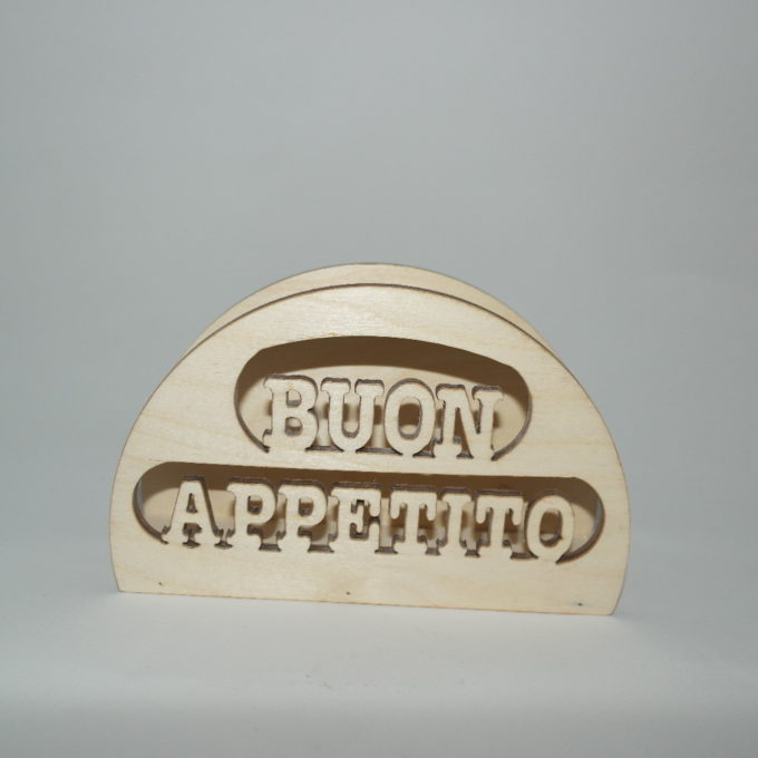 Porta tovagliolo scritta buon appetito in legno di faggio