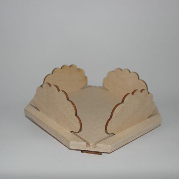 portatovaliolo in legno quadrato forma nuvola