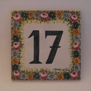 Mattonella dipinta a mano in ceramica di Castelli misure cm 20x20 prodotto artigianale