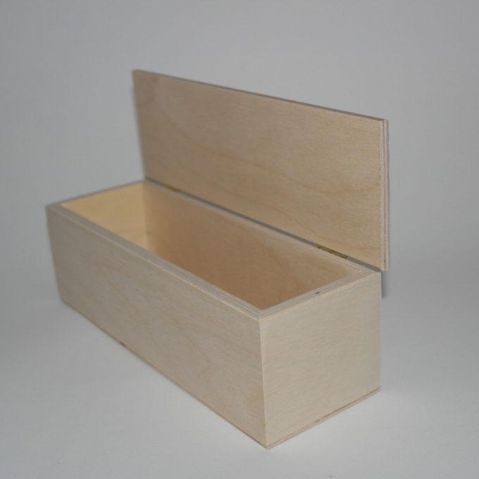 Scatola rettangolare lunga in legno 24 x 8 x 8