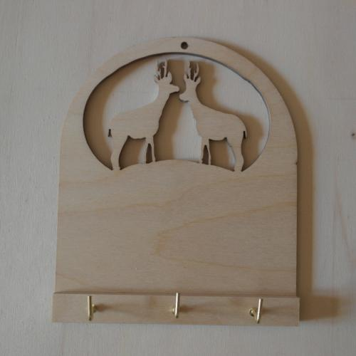 portachiavi da muro in legno soggetto cervo cm 15 x 12