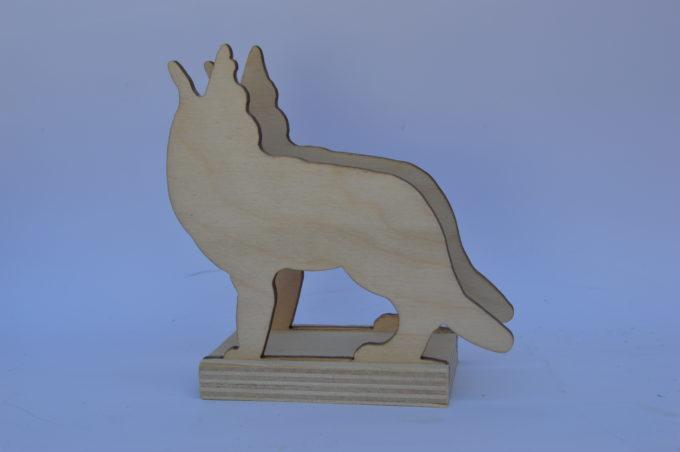 Portatovagliolo legno artigianale sagoma lupo
