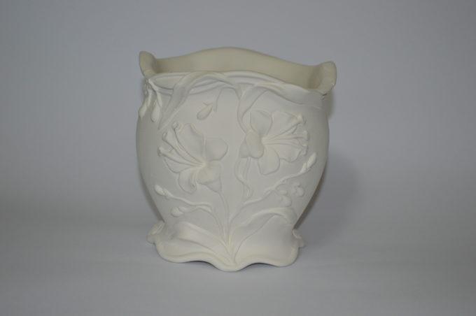 portavaso liberty in terracotta bianca da decorare